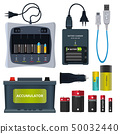 Rechargeable lithium battery and different accumulators isolate on white. Vector illustrations in 50032440