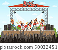 Rock band on stage. People on concert. Music performance. Vector illustration in cartoon style 50032451