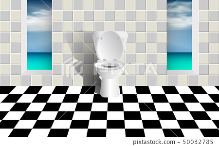 Beach Bathroom Interior Decoration Stock Illustration 50032785 Pixta