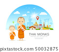 Vector Thai monks and Thai novice with Thailand 50032875