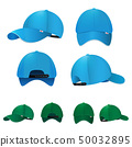 Blank baseball caps in different sides and colors. Vector illustration 50032895