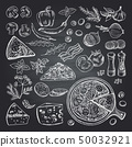 Illustrations of pizza ingredients on black chalkboard. Pictures set of italian kitchen 50032921