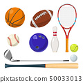 Vector sports equipment in cartoon style. Balls, rackets, golf sticks and other vector illustrations 50033013