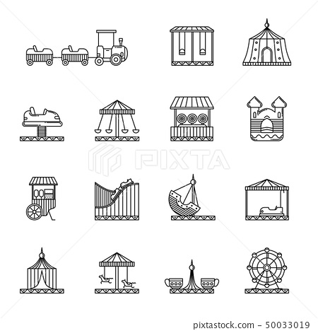 Amusement, circus and carousel linear vector icon set 50033019