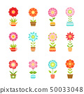 Vector flowers in different pots. Floral set isolate on white background 50033048