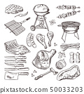 Bbq vector hand drawn illustration set. Grilled meat and other accessories for barbecue party 50033203