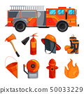 Protective clothing of fireman, boots, helmet, axe and other specific tools. Vector illustrations 50033229