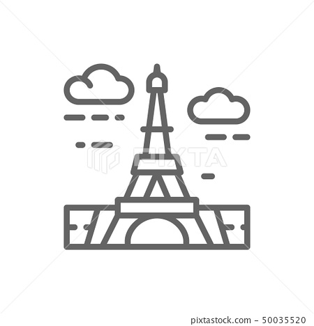 Eiffel Tower, France, landmark line icon. 50035520