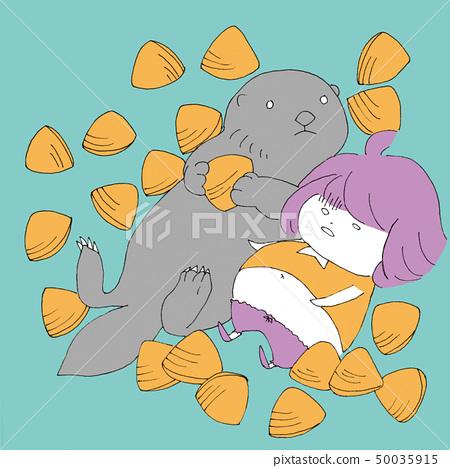 [Handwriting style girl and animal series] girl sea oat meal 50035915