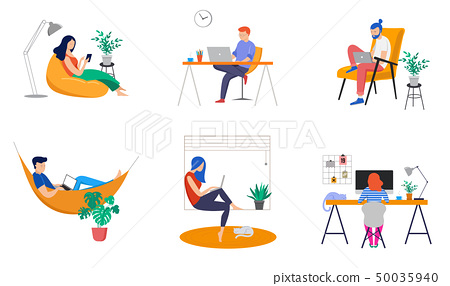 Working at home, coworking space, concept illustration. Young people, man and woman freelancers 50035940