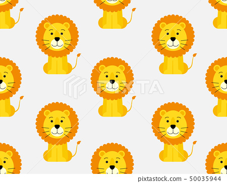 Seamless pattern of cute cartoon lion background 50035944