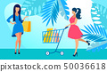 Girlfriends on Shopping Flat Vector Illustration 50036618