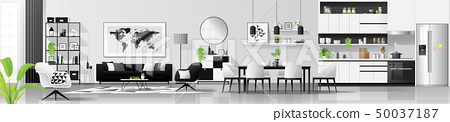 Living room , dining room and kitchen background 50037187