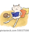 Relaxing with cushions, animals that chill in picture books 50037508