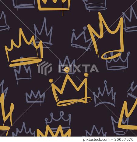 Sketch crown pattern. Seamless print texture girl princess crowns luxury royal corona wallpaper 50037670