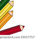 Green and yellow and orange and red colored pencil decorations 50037757