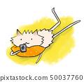 An animal that manipulates a smartphone while squeezing with a yellow cushion 50037760