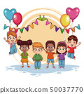 Happy kids on birthday party 50037770
