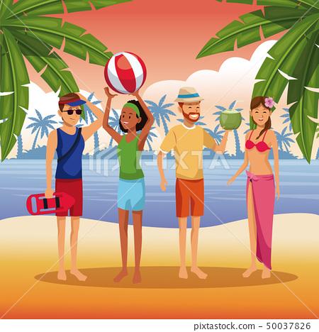 Friends in the beach cartoons 50037826