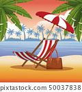 海滩 手掌 日落 50037838