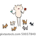 Dogs feeding dogs with canned and crispy (meal time) 50037840