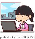 낮 노트북을 사용 여성 미소 50037953