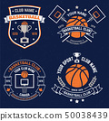Set of basketball club badge. Vector. Graphic design for t-shirt, tee, print or apparel. Vintage 50038439