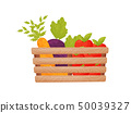Wooden box with vegetables and fruits. Vector illustration. 50039327