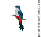Blue bird sits on a tree branch. Vector illustration. 50039336
