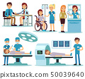Medical patient and doctors in medical activity vector set 50039640