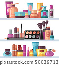 Cosmetic bottles on store shelves. Woman beauty and care vector concept 50039713