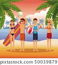 海滩 球 手掌 50039879