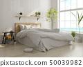 Interior light bedroom. Scandinavian style. 3D rendering 50039982
