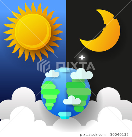 Sun, Moon And Stars. Day And Night Vector Banners. 50040133
