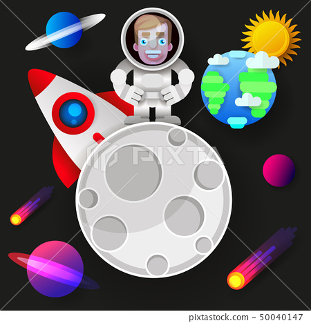 Astronaut Stay On Planet Or Moon And Welcomes 50040147