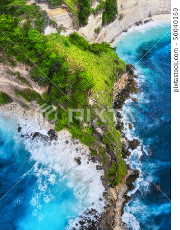 Coast as a background from top view. 50040169