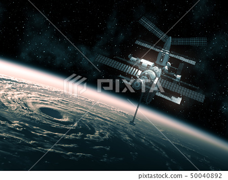 Flight Of The Space Station Above The Big Hurricane 50040892
