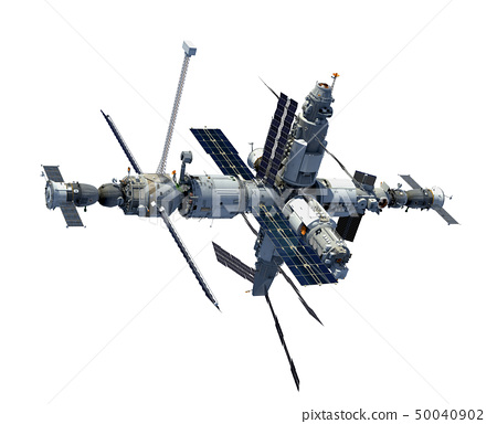 Russian Space Station Isolated On White Background 50040902