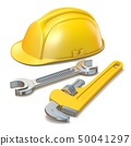 Construction helmet with a wrench and piper tool 50041297