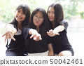 cheerful of three asian teenager happiness emotion 50042461