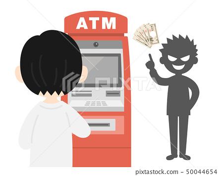 自动柜员机 银行转账诈骗 矢量 50044654