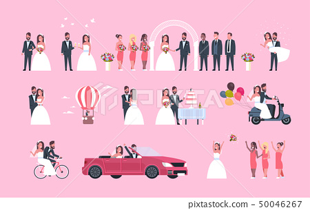set just married man woman standing together different concepts collection romantic couple bride and 50046267