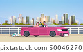 just married bridegroom and bride on road trip driving convertible car romantic couple man woman in 50046270