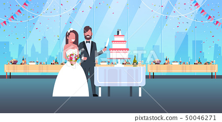 newlyweds just married man woman cutting sweet cake together romantic couple bride and groom in love 50046271