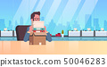 tired overworked businessman sitting workplace desk with stacked paper documents workload business 50046283