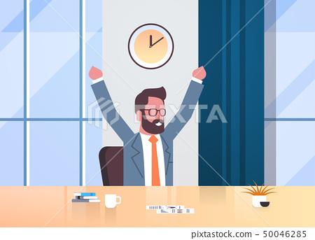 happy businessman raising hands expressing success effective time management concept business man 50046285