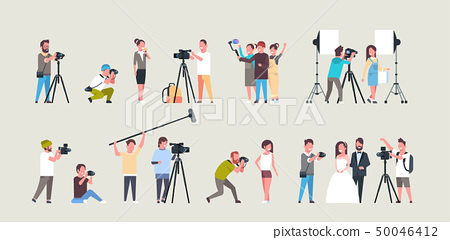 set different poses photographers and cameramans using cameras african american characters shooting 50046412