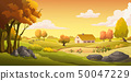 Houses and grasslands at the hill at sunset. 50047229