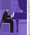 Pianist Poster Advertising Flat Colored Banner 50048487