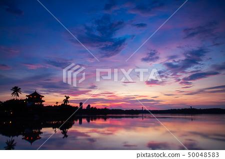 대만 가오슝 (Kaohsiung)에서 호수 풍경을 밝힙니다. 카오슝 호수, 대만, 아시아 50048583